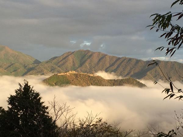 竹田城雲海に差し込む朝陽